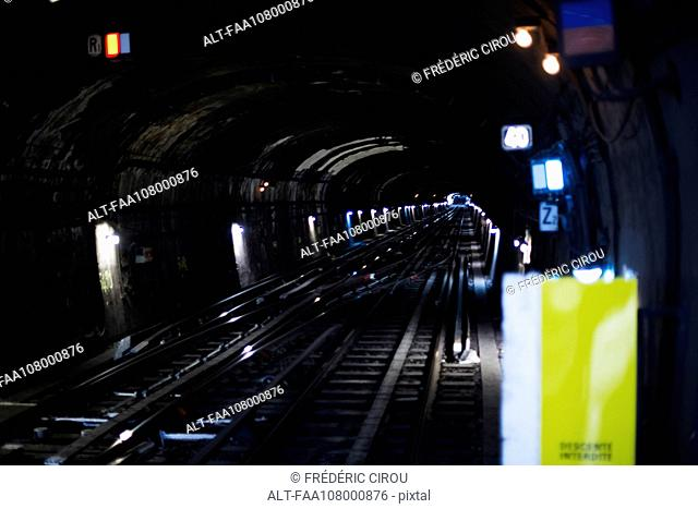 Subway tunnel and tracks