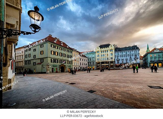 Main square, town, city center, Bratislava - Slovakia