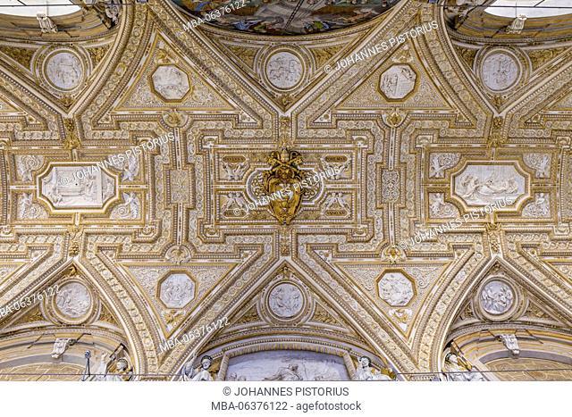 Europe, Italy, Latium, Rome, Vatican, ceiling detail of the atrium of the St. Peter's Basilica