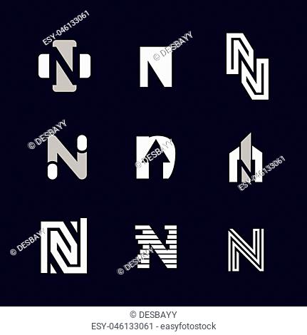 Alphabet letters set N Logo element. N letter collection Vector Template