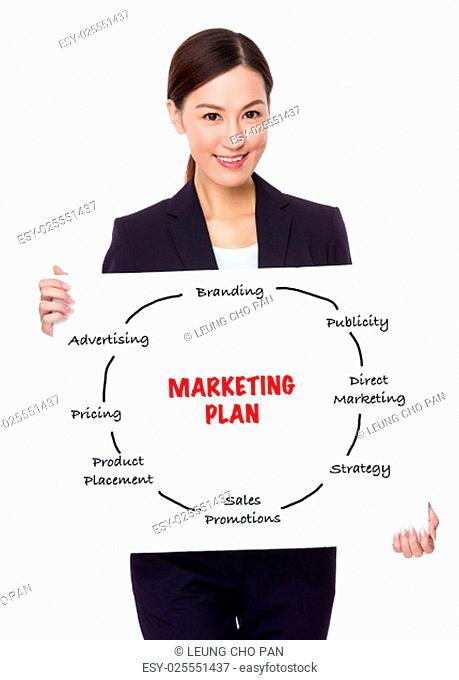 Businesswoman hold with a board showing marketing planning