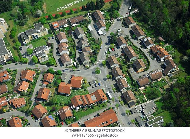 Aerial view from an airship dirigible Zeppelin NT of residential district of West Friedrichshafen, Constance lake Bodensee, Baden Württemberg, Germany
