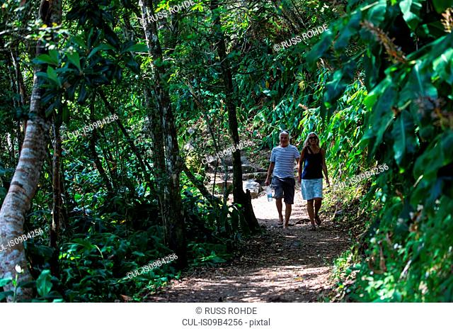 Couple strolling on tropical forest path, Reunion Island