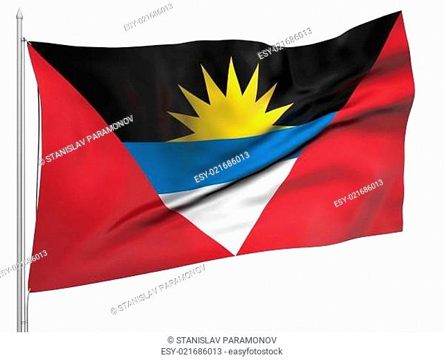 Flying Flag of Antigua and Barbuda - All Countries Collection. Flag, flagstaff isolated image on white