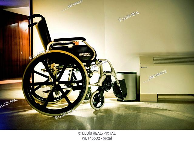 Close up of an empty wheel chair