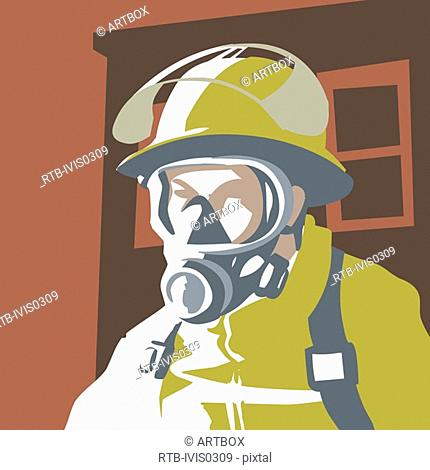 Close-up of a firefighter wearing an oxygen mask