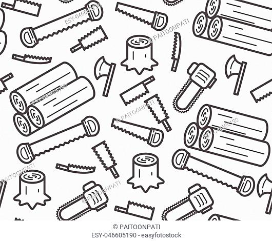 Carpenter equipment tool and stump, timber symbol icon set seamless pattern outline stroke design illustration black and white color isolated on white...
