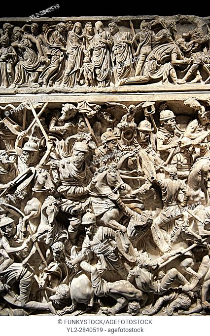 Roman Sarcophagus with detailed relief sculptured panels with battle scenes. This large sarcophagus which was found in 1931 near the Tiburtina