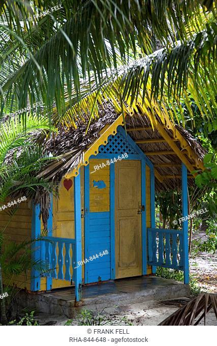Colourful hut, Saona Island, Dominican Republic, West Indies, Caribbean, Central America