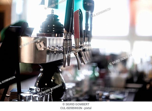 Beer pumps in traditional Irish public house
