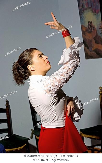 Flamenco dancer in the Fundacion Conservatorio Flamenco Casa Patas, Madrid, Spain