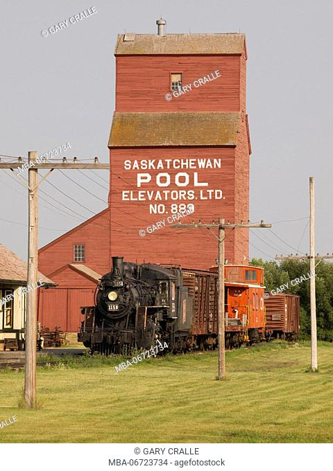 Outdoor Museum with train and grain elevator