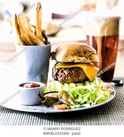Hamburger, french fries and beer