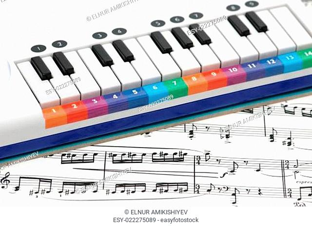 Notes and piano with numbered colourful keys