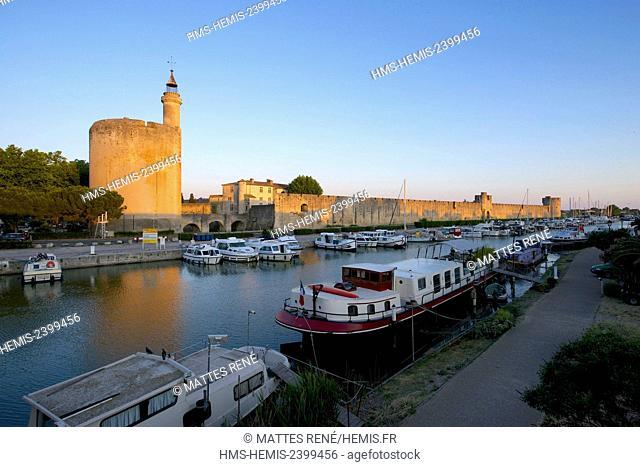 France, Gard, Aigues Mortes, Tour de Constance, ramparts and canal