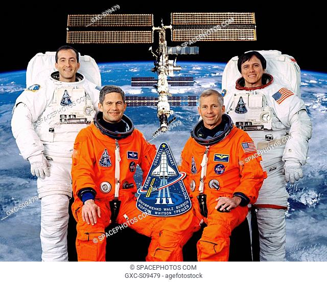 03/02/2002 --- These four astronauts are the prime crew for NASA's STS-111 mission. Astronaut Kenneth D. Cockrell front right is mission commander