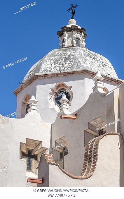 Walls and cupola of the church known as El Santuario de Atotonilco near San Miguel de Allende in the Mexican state of Guanajuato