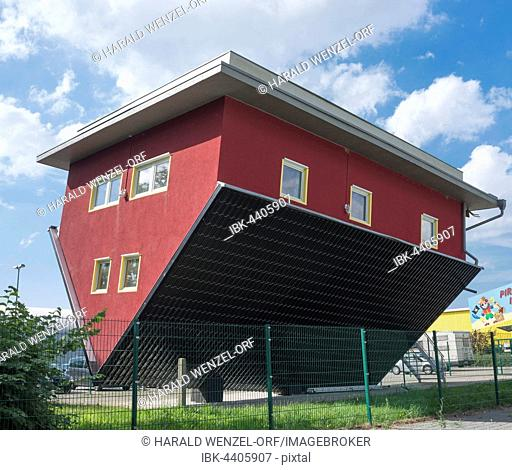 Haus-Kopf-über, turned over house, Putbus, Rügen Island, Mecklenburg-Western Pomerania, Germany