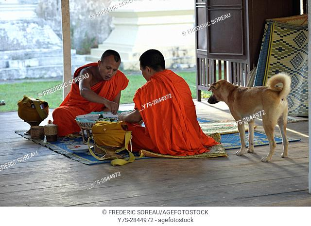Buddhist monks at monastery,Don Khong islands,Four Thousand islands,South Laos,Southeast Asia