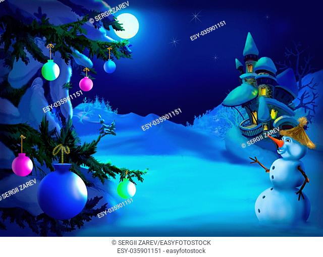 Christmas & New Year Postcard with Snowman, Christmas Tree in a magic winter night. Outdoor scene, handmade illustration in a classic cartoon style