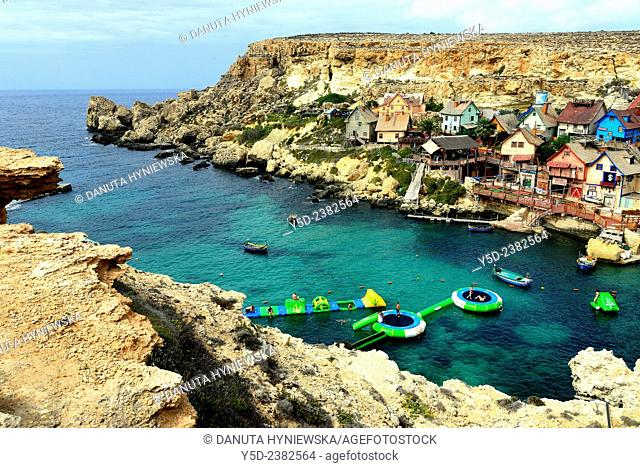 Popeye Village also know as Sweethaven Village in Anchor Bay, film scenery for the Popeye film by Robert Altmann, Mellieha, Malta, Europe