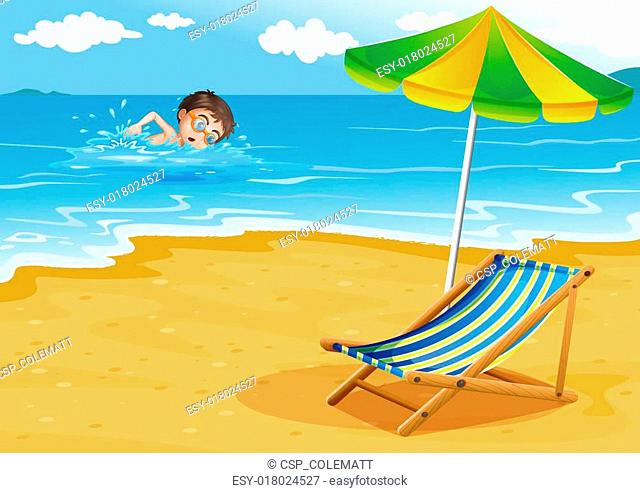 A boy swimming at the beach with an umbrella and a bed