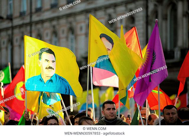 Kurdish protesters demonstrate outside the Turkish Embassy in London demanding the release of two joined leaders of Turkey's pro-Kurdish People's Democratic...