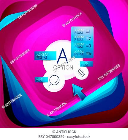 Rotating swirl square background, color rectangles with stepping blending effect with sample infographics or slogan. Business presentation template