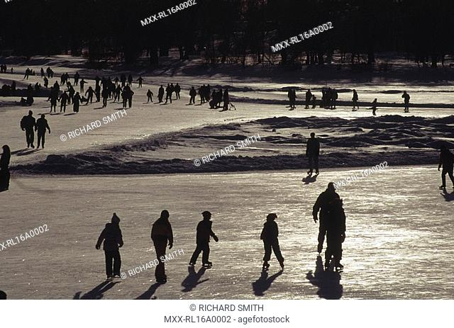 Dow's Lake skaters, Rideau Canal, Ottawa, ON