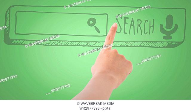Hand pointing at 3D search bar against green background