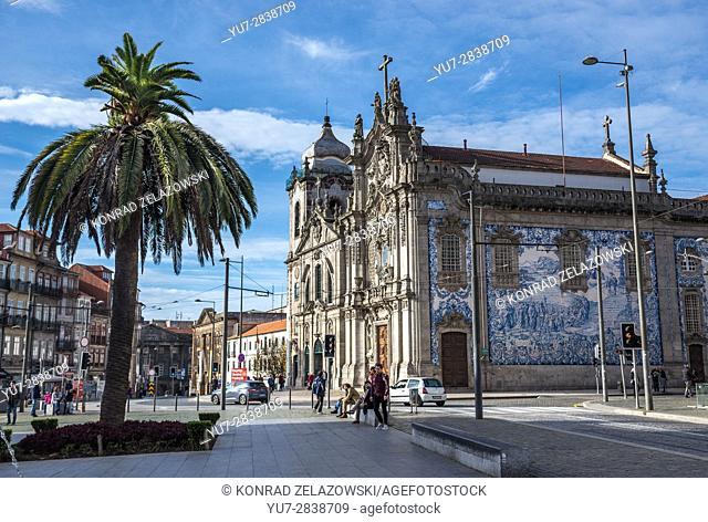 Carmelite Church (Igreja dos Carmelitas Descalcos) and Carmo Church (Igreja do Carmo) in Vitoria parish of Porto, Portugal. View from Lion's Square