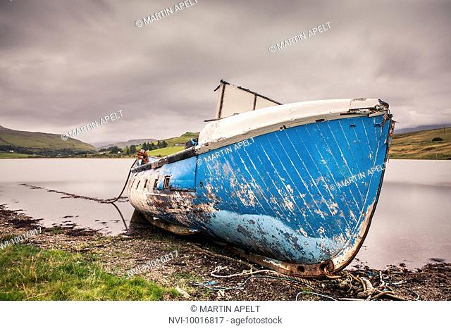 Boat on a lake on the Isle of Skye, Scotland, Europe