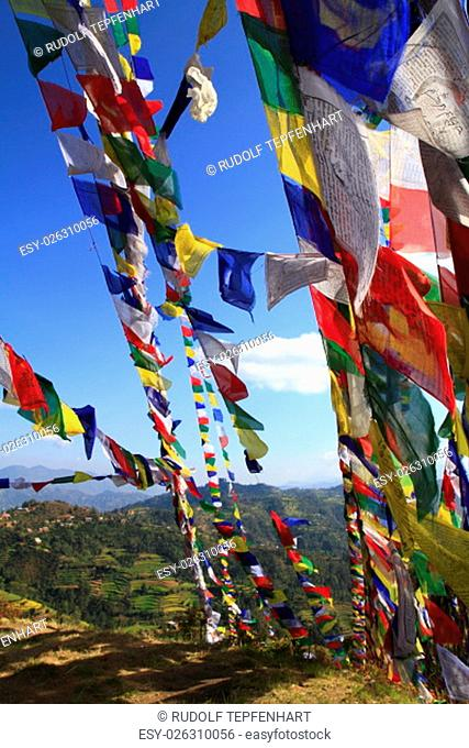 Colorful prayer flags in the wind Nepal