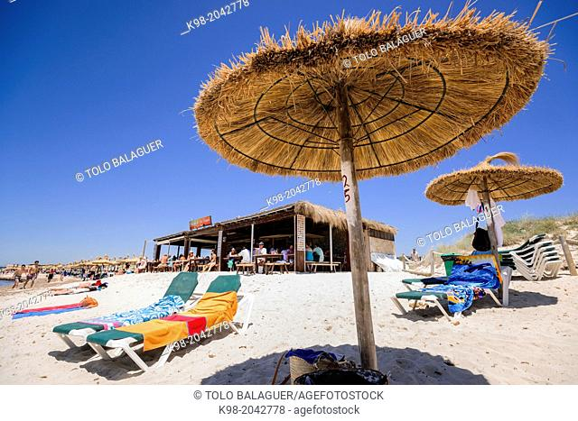 Snack Na Tirapel, Es Trenc beach. Mallorca. Balearic Islands. Spain