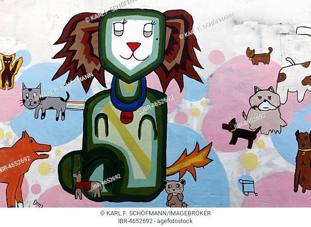 Funny cat with other animals, Graffiti, Bangkok, Thailand