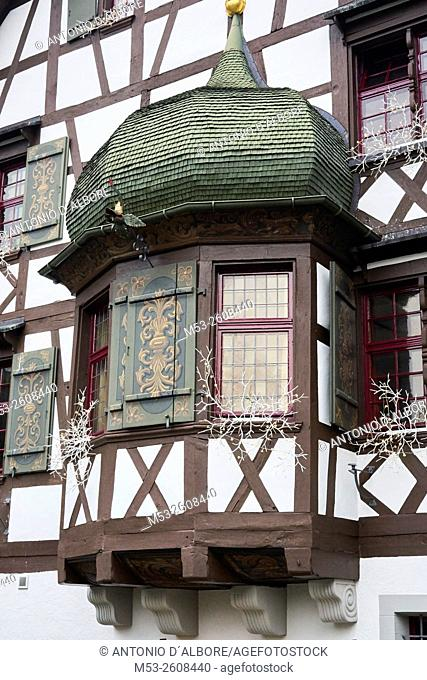 Exterior of a traditional swiss building with Christma decoration. Gottlieben Municipality. . Kreuzlingen District. Thurgau Canton. Switzerland