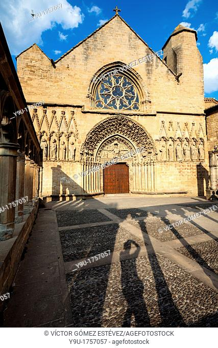 Church of St. Mary in Olite at evening with shadow of photographer, Navarre, Spain