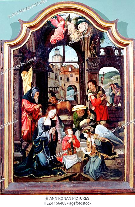 'Adoration of the Shepherds', triptych, late 15th-early 16th century. Central panel showing the Adoration in the stable with Mary, Joseph, the infant Jesus