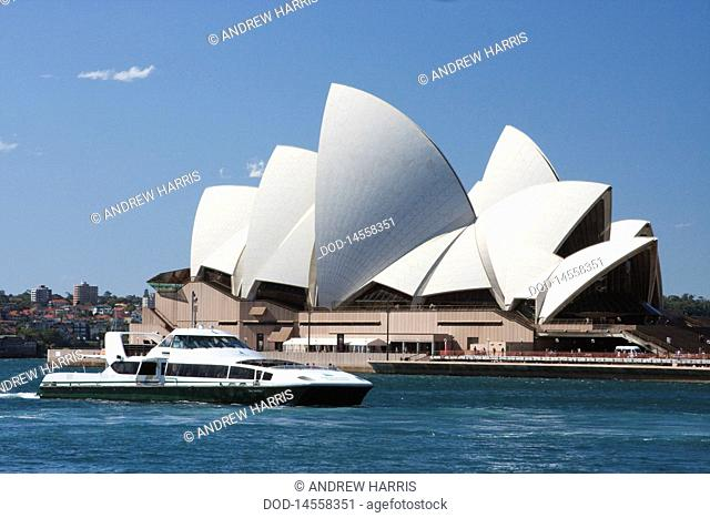 Australia, New South Wales, Sydney, Circular Quay, View of Sydney Opera House with ship in foreground