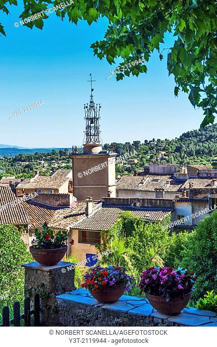 Europe, France, Var, Cotignac. Old village. The campanile