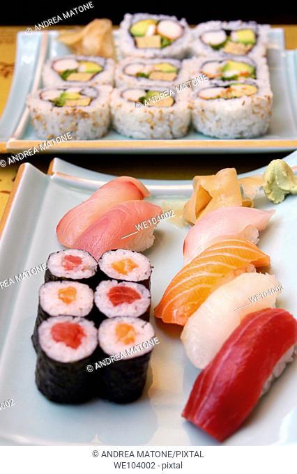 A variety of Sushi Sashimi and California Rolls