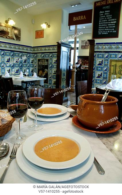 Cocido soup for two. Madrid, Spain