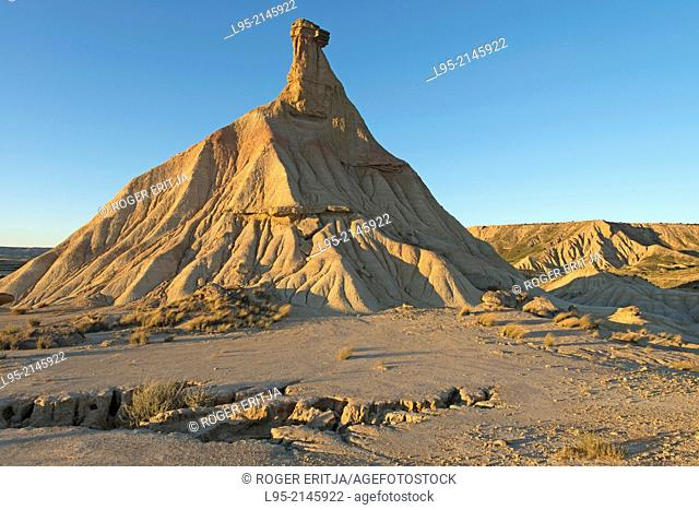 Most renowned cliff eroded by rainfall, symbol of the clay-only area of the natural park of Bardenas Reales de Navarra, Navarre, Spain