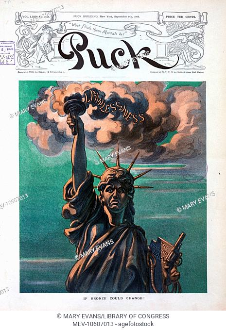 If bronze could change!. Illustration shows an unhappy Statue of Liberty; her torch spewing smoke of Lawlessness, her tablet states The Unwritten Law