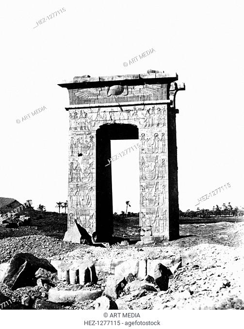 Temple Arch at Karnak, Egypt, 1863-1864. Mission to Egypt with Emmanuel Rougé accompanied by Viscount of Banville and Jacques Rougé in 1863-1864