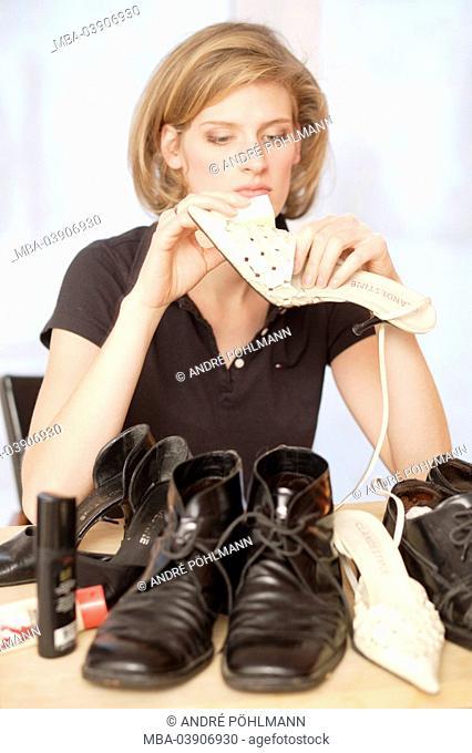 Woman, young, shoes, cleaning, sponge, semi-portrait