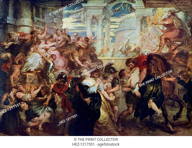 'The Rape of the Sabine Women', c1635-1640, (1912). A colour print from Famous Paintings, with an introduction by Gilbert Chesterton, Cassell and Company