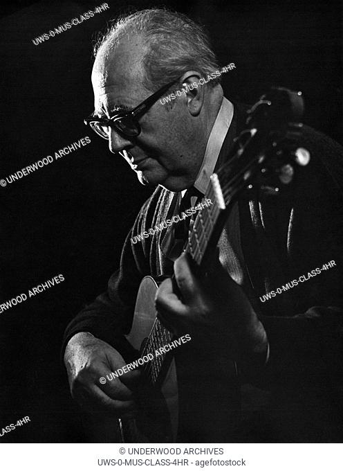 Spain: c. 1950 A portrait of virtuoso classical guitarist Andres Segovia