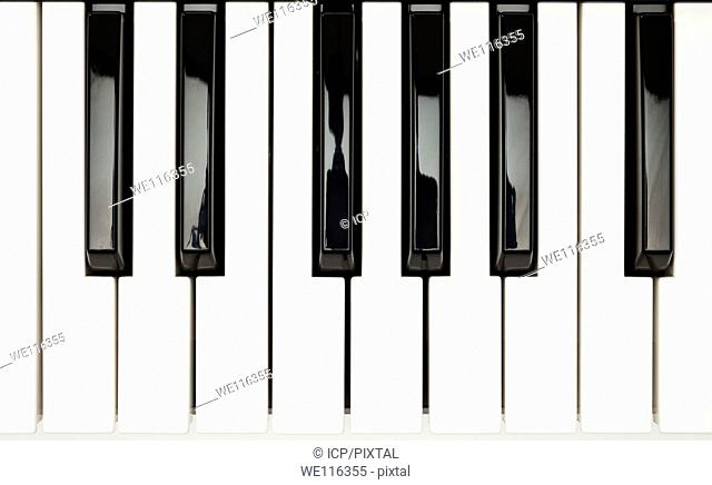 Piano keys showing one full octave