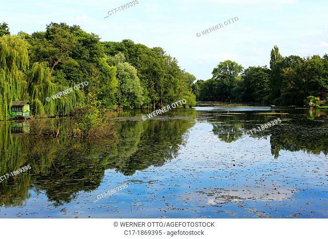 Germany, Krefeld, Rhine, Lower Rhine, Rhineland, North Rhine-Westphalia, NRW, Niepkuhlen, natural reserve, old Rhine, pasture landscape, lake, pond